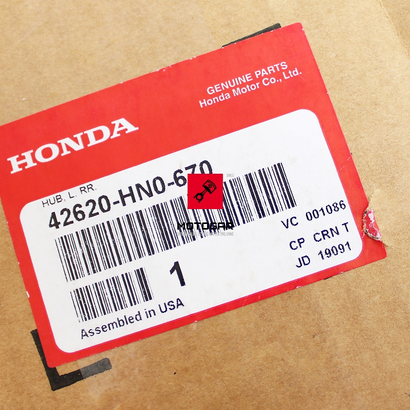 42620HN0670 Piasta koła tylnego Honda FOREMAN RANCHER 350 400 450 etykieta