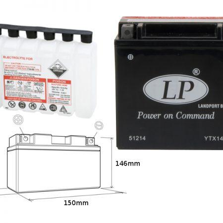 Akumulator Honda TRX 500 Fourtrax 2001-2010 LandPort Bezobsługowy
